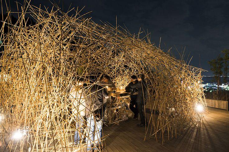 naoya matsumoto uses reed to construct enchanting yoshi bar - design: naoya matsumoto + seian university of arts and design students, location: seian university of arts and design, date completed: october 2013, photos: takeshi asan