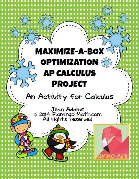 This is a FREE activity for optimization and the Applications of Differentiation Unit in Calculus. Students are given a sheet of poster board of a specific size and are asked to create a box (with a fold-down lid) of maximum volume.