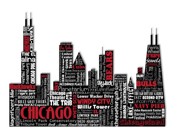 Original Artwork Using Words To Describe City Of Chicago Show Off Your Chicagoan Pride In Your Home With This Word Art Typography Word Art Chicago Cityscape