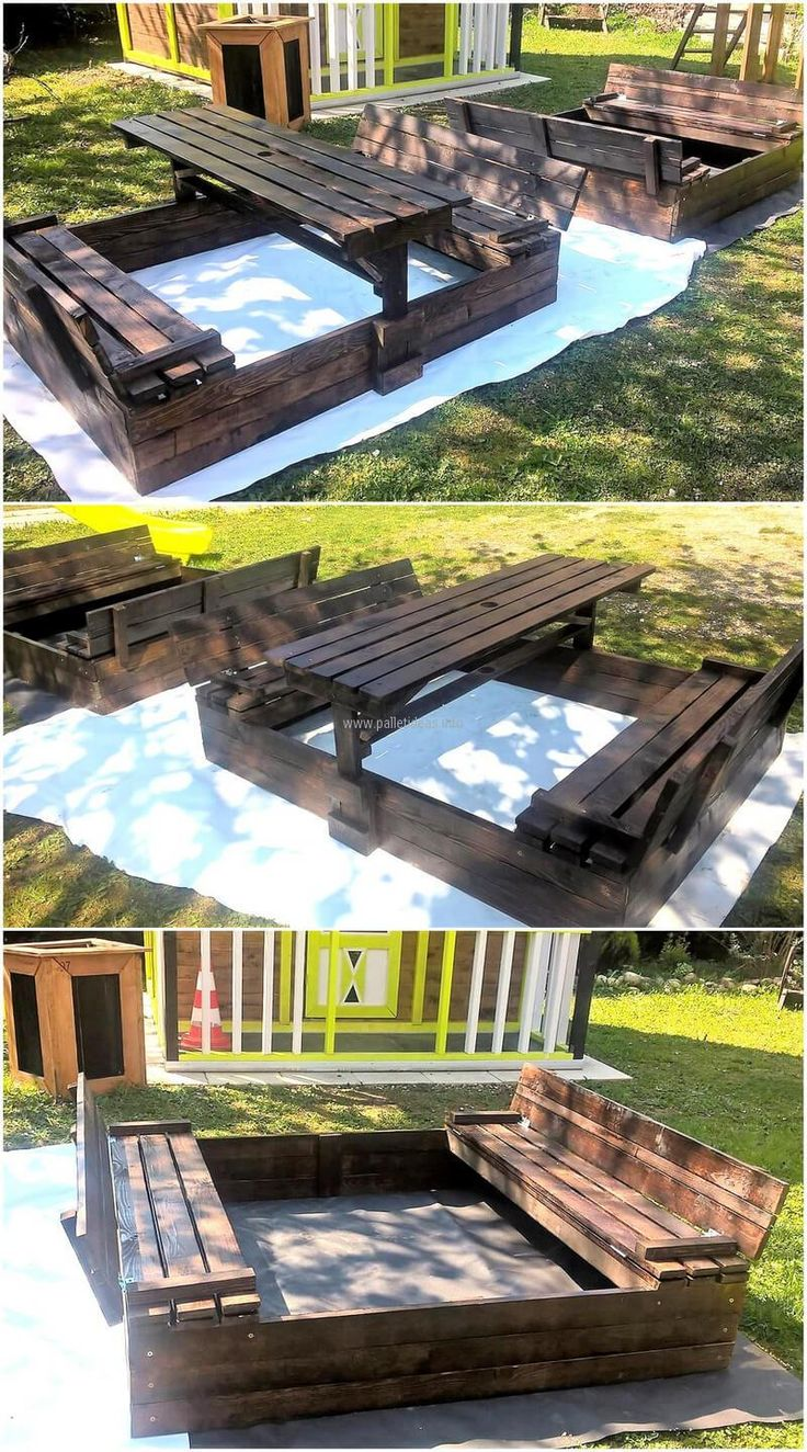 Now we are going to present an idea for the kids, which allow a space to play as well as have a meal. Look at the repurposed pallet wooden kids play sandox idea, it is painted black and can be painted with any bright color to make it attractive.