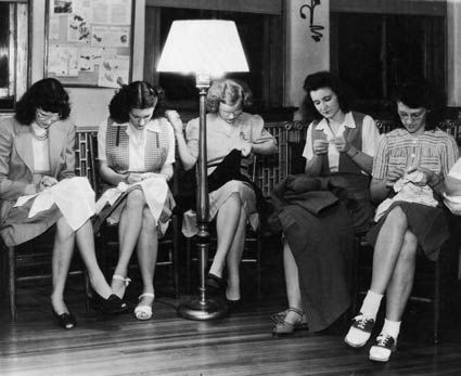 A group of women hard a work on their sewing circle projects, 1940s. #vintage #1940s #sewing