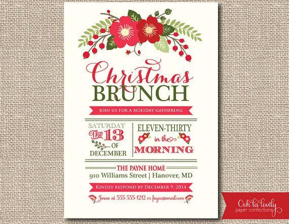 Christmas Brunch Invitation or Holiday Brunch Invite, holiday bridal shower