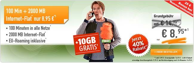 2GB Tarif im Telekom Netz mit 100 Freiminuten für 8,95€ http://www.simdealz.de/telekom/klarmobil-smartphone-flat-2000/