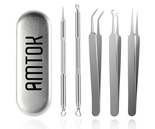 AMTOK Blackhead Remover Kit Curved Blackhead Tweezers Kit Pimple Comedone Extractor Tool Set Dermatologist Grade Kit Treatment for Blemish  Zit Popper (tweezers)