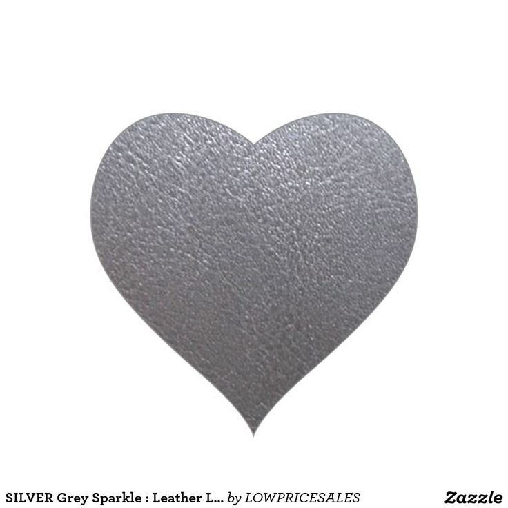 SILVER Grey Sparkle : Leather Look Finish Heart Sticker