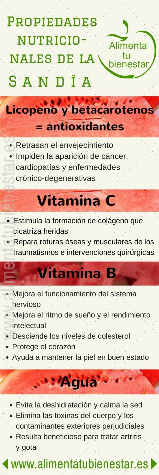 #Infografia Propiedades nutricionales de la sandía #salud #cocina