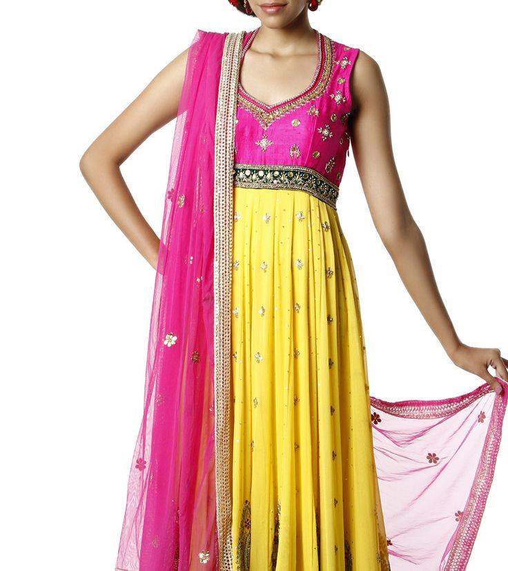 Pink & Yellow Anarkali