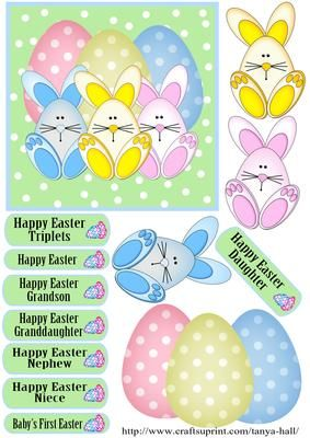 Three Cute Rabbits And Eggs Easter Quick Card