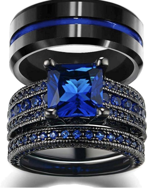 Couples Rings Women 10k Black Gold Filled Blue Cz Wedding Engagement Bridal Sets Men S In 2020 Engagement Rings Bridal Sets Wedding Ring Sets His And Her Wedding Rings