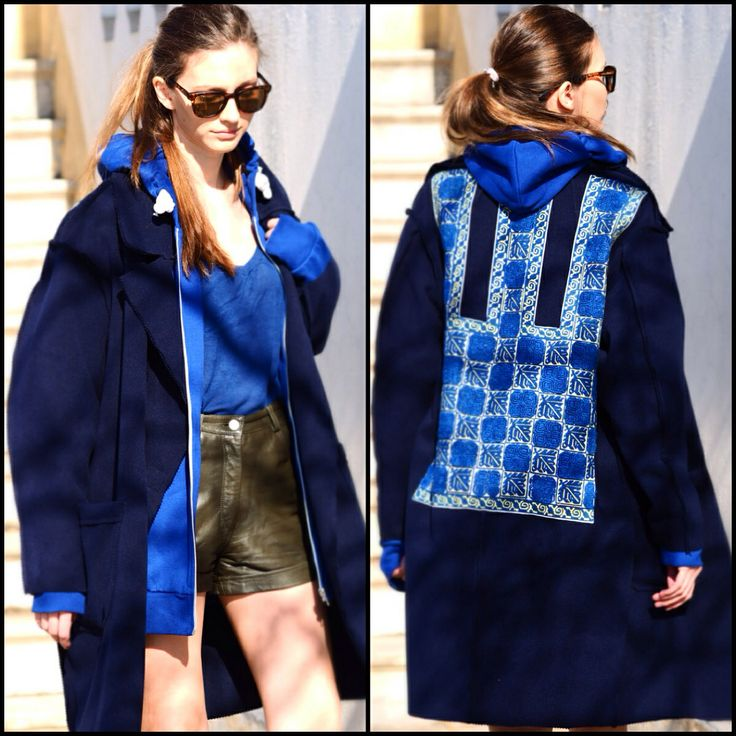 Blue Coat, Contemporary Design, Unique handmade embroidery, Traditional Romanian Design