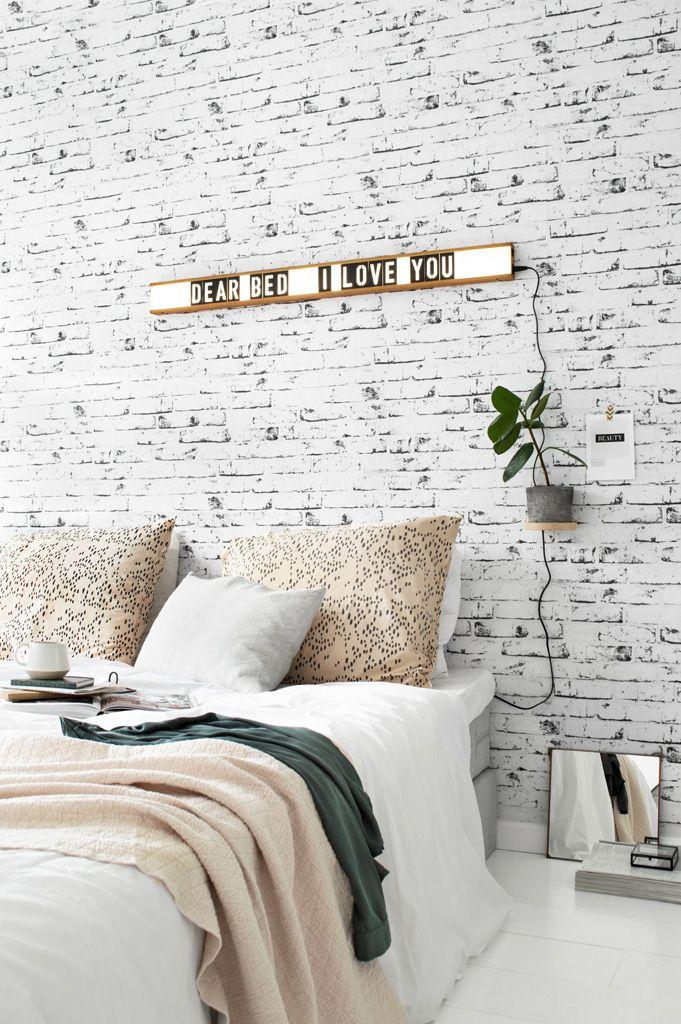 Bedroom lightbox - brick wall - Tanja van Hoogdalem