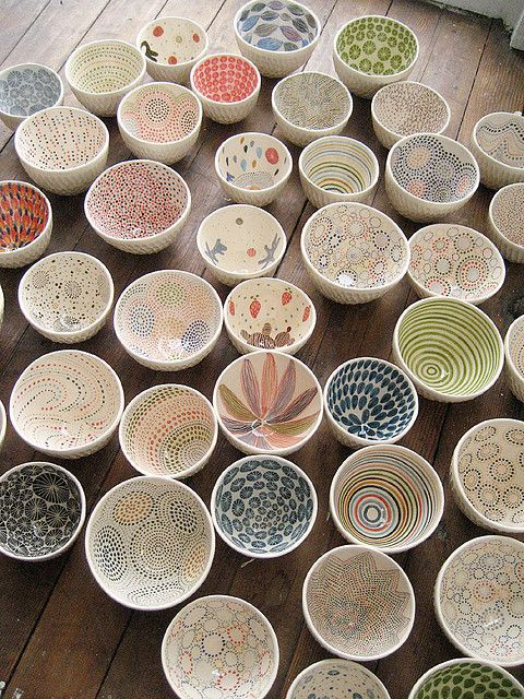 pottery - glazing the inside of bowls