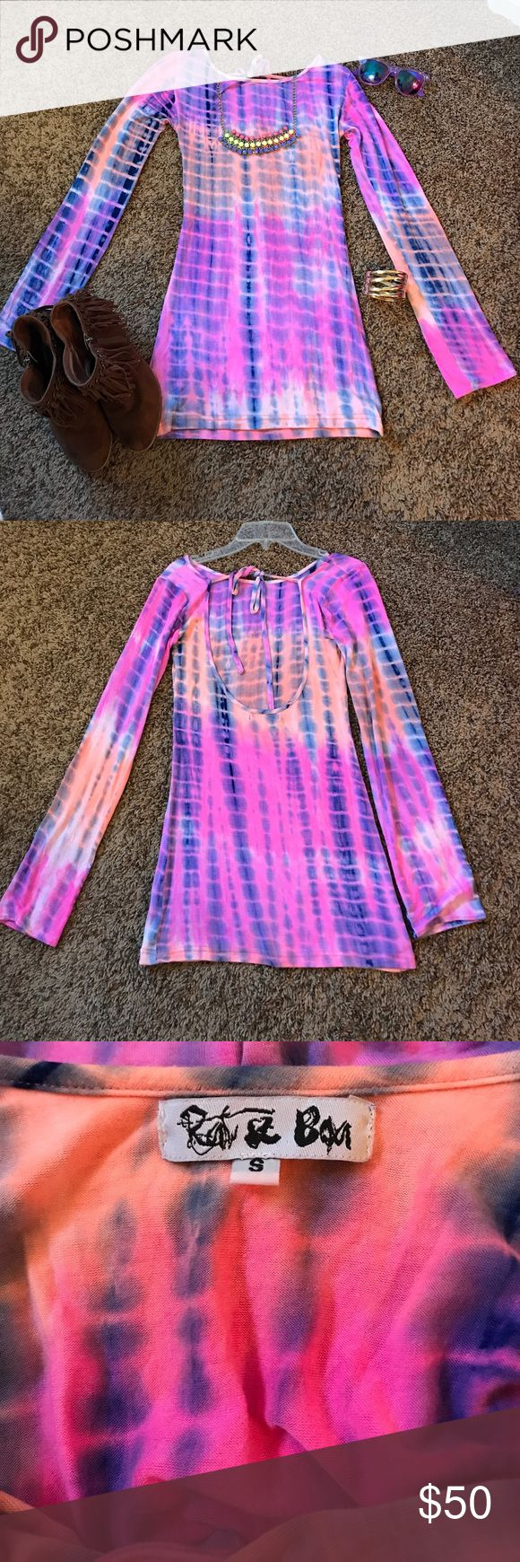 💓Rat & Boa Luna Ray Tie Dye Dress💓 SOLD OUT and you will not find this anywhere, trust me I had to HUNT for this for weeks before I luckily found it!!  Worn once to a festival!  Super adorable on!  This is a size small.  Short and very fitted.  The back is open with a tie at the top.  My personal opinion, this is perfect if you are a size 00, 0 or 2.  Fits all the right curves and makes your little booty pop!☺️Perfect for Lollapalooza, Bonnaroo or Coachella! Rat and Boa Dresses Mini
