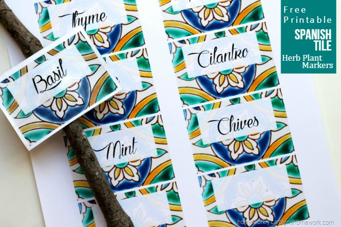 Spanish Tile Herb Plant Markers FREE PRINTABLE via homework 4