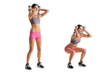 Squats with dumbells- Use the ten pound DBS. This is an all body workout. Maximizes time and results.