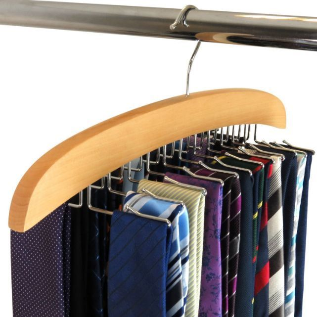 Hangerworld Single Wooden 24 Tie Hanger Organiser Rack Natural