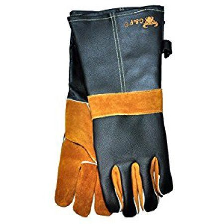 G & F 8115 Premium Grain Leather Gloves, BBQ gloves, Grill Gloves,, Cotton lining with 14.5-Inch Extra Long Sleeve Heat Resistant Gloves, White