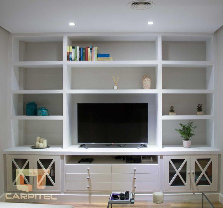 Mueble estantería para salón en pladur y madera lacada en blanco