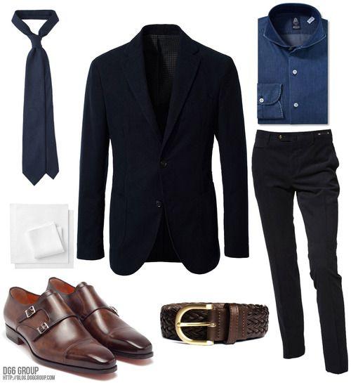 Friday Inspiration - Denim Fall Jacket: Montedoro Shirt: Finamore Trousers: PT01 Belt: Berg Tie: Drake's London Pocket Square: Drake's London Shoes: Santoni