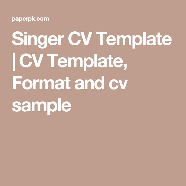 singers cv template - Apmayssconstruction