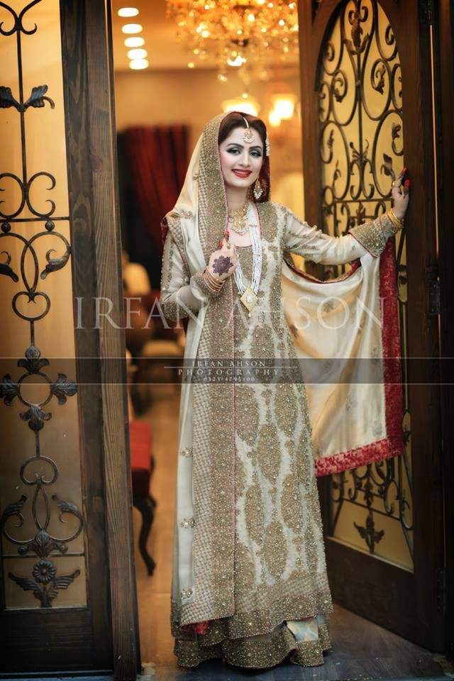 White and Gold Pakistani Bridal Gown