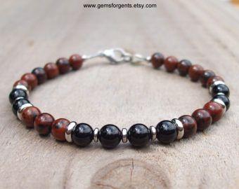 Sneeuwvlok obsidiaan Zwarte Onyx Mens kralen armband met Bali