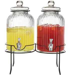 Style Setter Springfield Beverage Dispenser with Stand, Clear, Set of 2