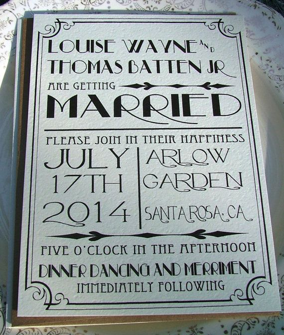 Wedding Invitations Great Art Deco Hollywood by sweetinvitationco, $100.00