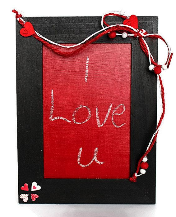 Valentines Day Gift  Chalkboard Picture Frame  by OurMomsTouch