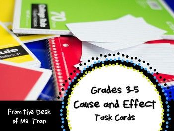 Here's a set of 16 cause and effect task cards. Your students will identify the cause or effect after reading a short paragraph. They will also write a possible cause or possible effect. Have students share their answer with a friend. Great reading, writing, speaking, and listening practice!