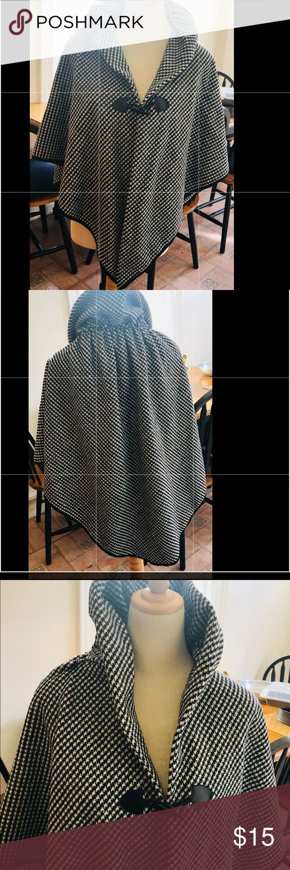 Black and white cape Beautiful 2 ply checkered cape. Brand new. No tags. Bought it from a vendor that handmade it. 100% acrylic. Not sure what size it is. I would say would fit XS though a M. Jackets & Coats Capes