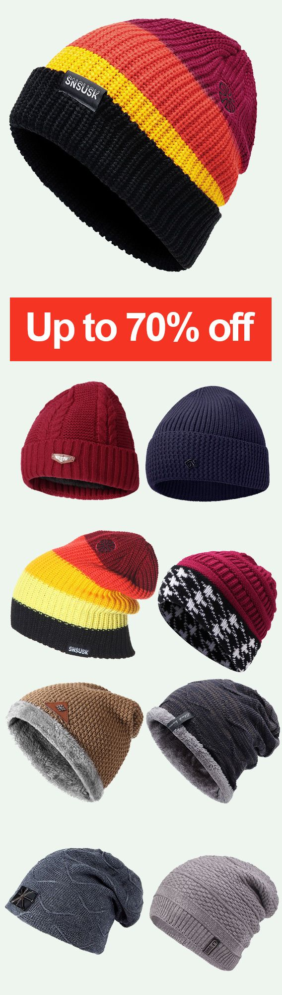 64% off&Free shipping. Men Women Winter Double Knit Striped Multicolor Knitted H… – Men's Accessories