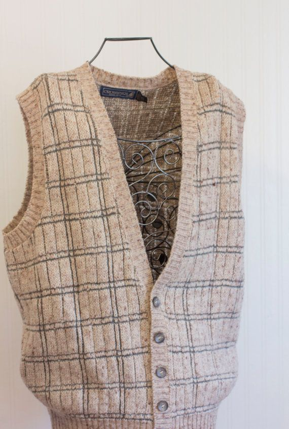 Mens Sweater Vest Vintage Sweater Vest Crossings by MollyFinds