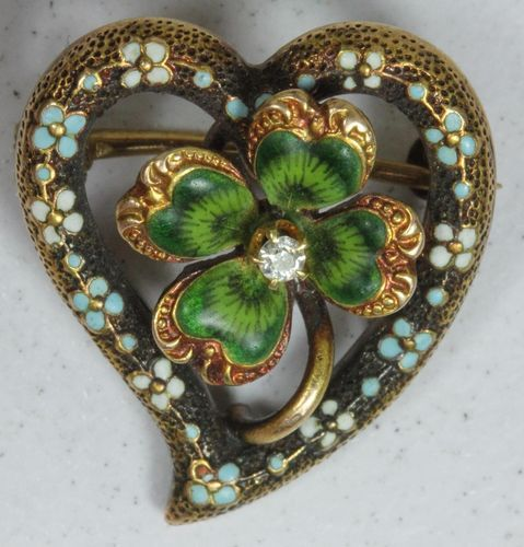Victorian 14K Gold Enamel 4 Leaf Clover w/Diamond Pin