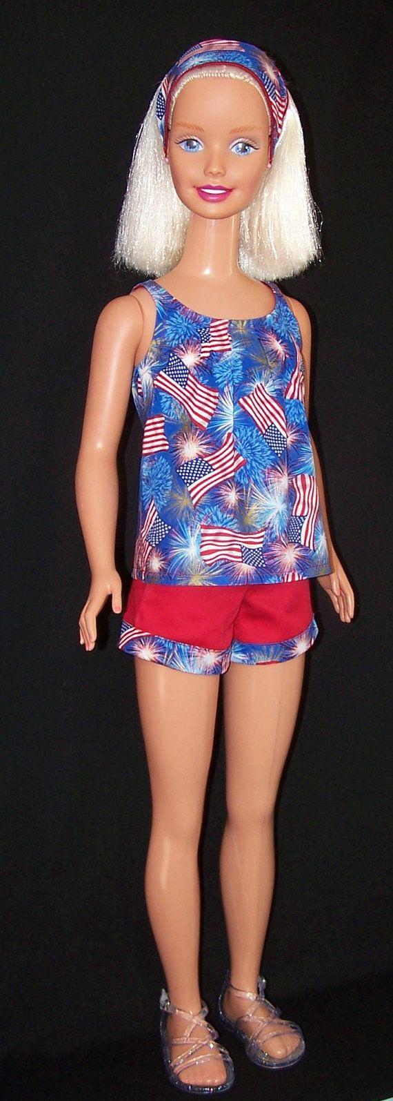 My Size Barbie Doll American Flag Top & Shorts Set by SewDollyCute - $18 - https://www.etsy.com/shop/sewdollycute