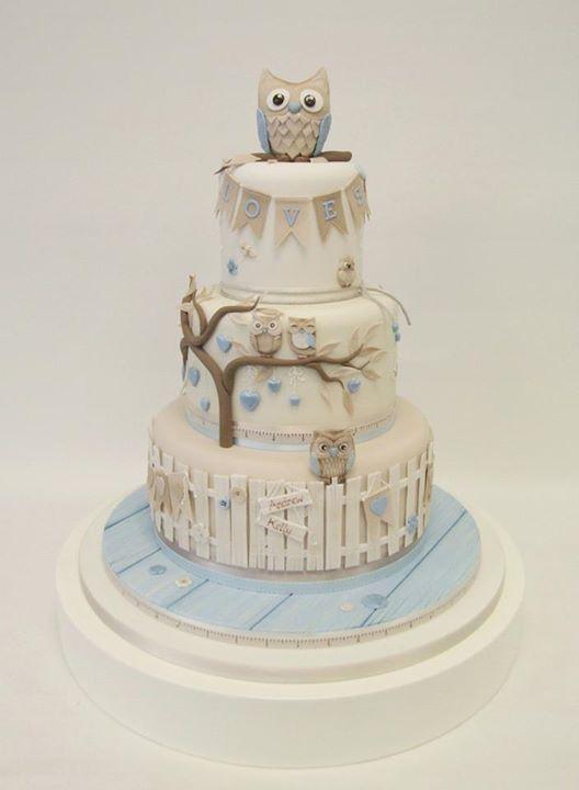 Owl engagement cake