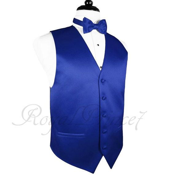 Royal Blue Solid Vest Waistcoat and Butterfly Bow by WeddingTux