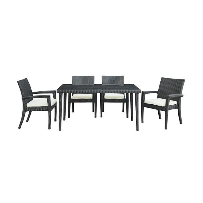 Stash 7-Piece Dining Set in Espresso with White Cushions | Nebraska Furniture Mart