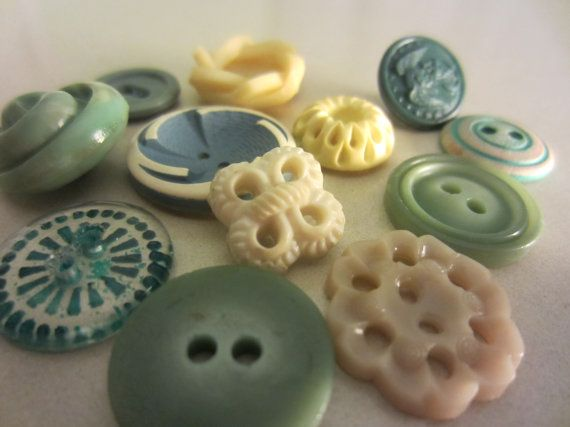 Vintage Buttons  Country chic sweet  teal green by pillowtalkswf, $7.00