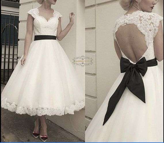 Cap Sleeve Wedding Dress Short Wedding Dress by loveBaby2015, $129.00