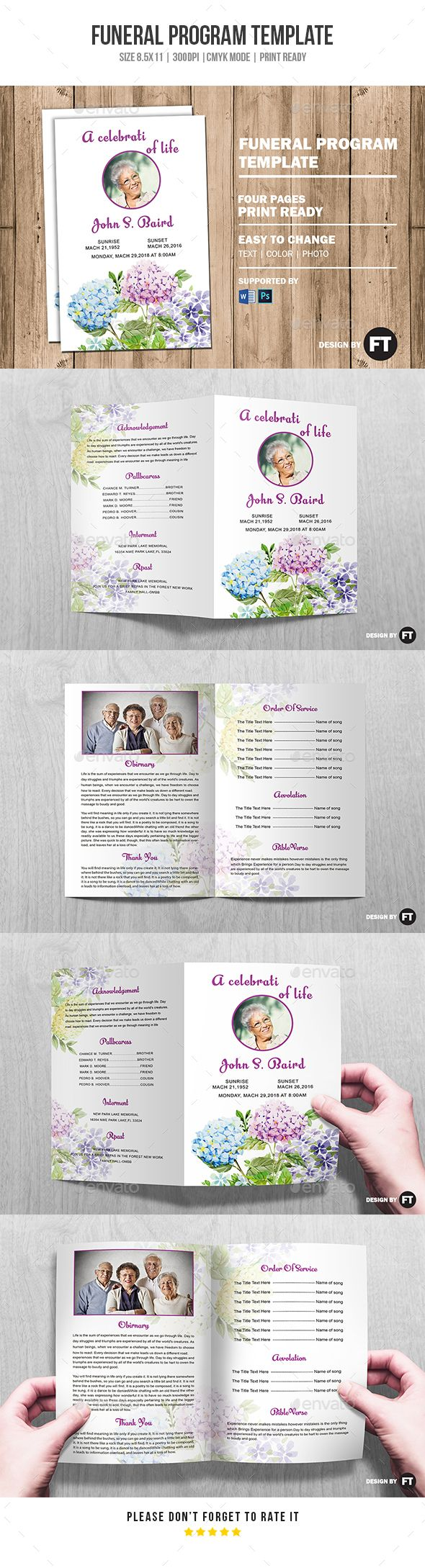 Funeral Program Template Vol 16 by PrintTemplate Funeral Program Template �20Funeral Memorial Program Template �20Printable Template �20Editable Photoshop Template �20INSTANT DOWNLOAD