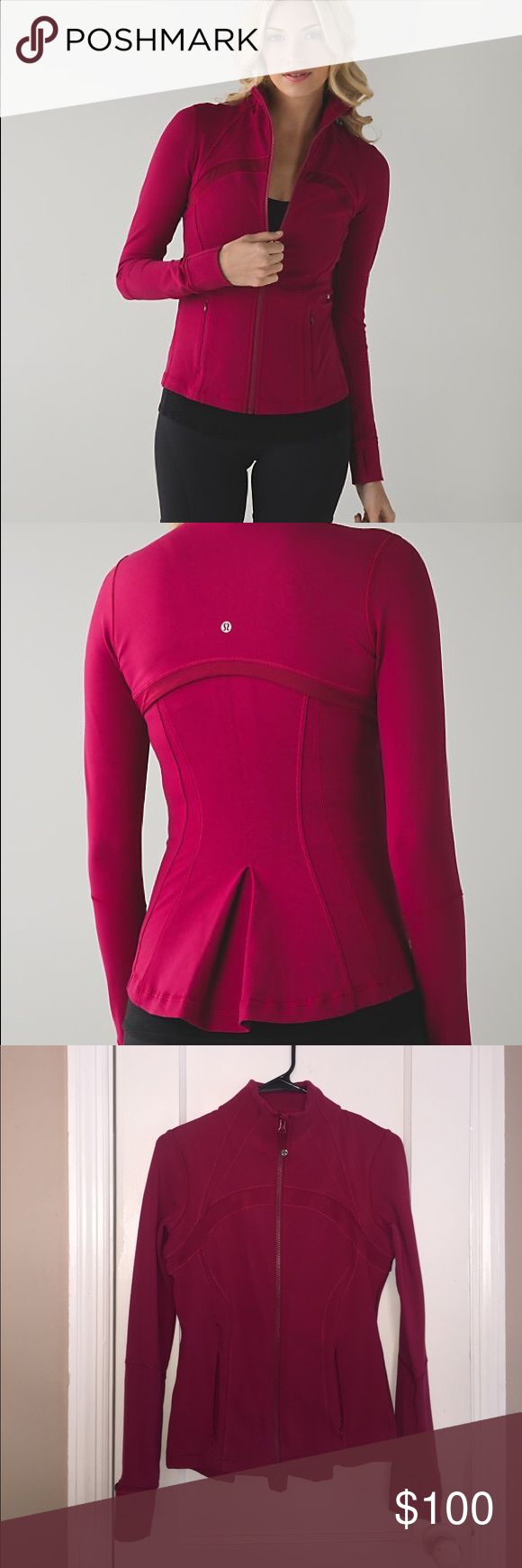 Lululemon Define Special Edition Shine On Jacket Special edition Define jacket in berry rumble pink. Cute bustle detail in back. Worn only a couple of times, practically new.  No signs of wear. lululemon athletica Jackets & Coats
