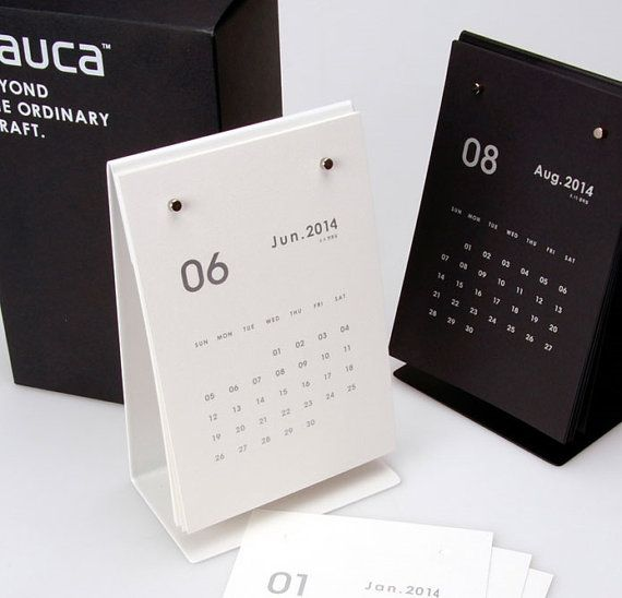 2014 Desk Calendar / MemoPad+Calendar [ Black / White ] on Etsy, $25.72 AUD