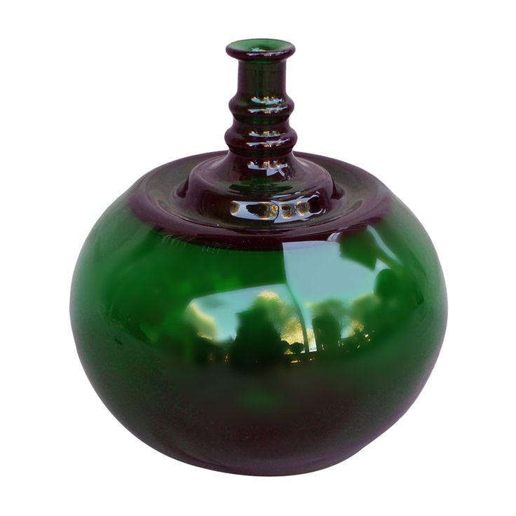 Finland 1950s Bulbous Green Glass Vase by Kaj Franck, Signed on Underside