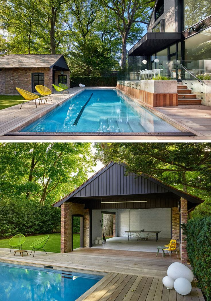 A new terrace and pool was added to this house and is surrounded by large mature trees. The home's original garage was transformed into a pool cabana and games room.