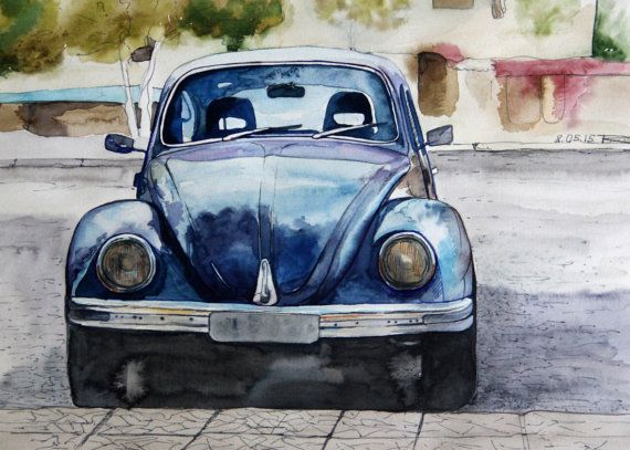 Printable wall art  Watercolor poster Beetle by TatyanaKomarovaArt