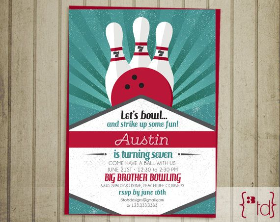 49 best Papery images on Pinterest Bowling party, Birthday - bowling invitation