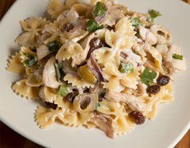 Orange Chicken Pasta Salad with Green Olives and Raisins Recipe | Food ...