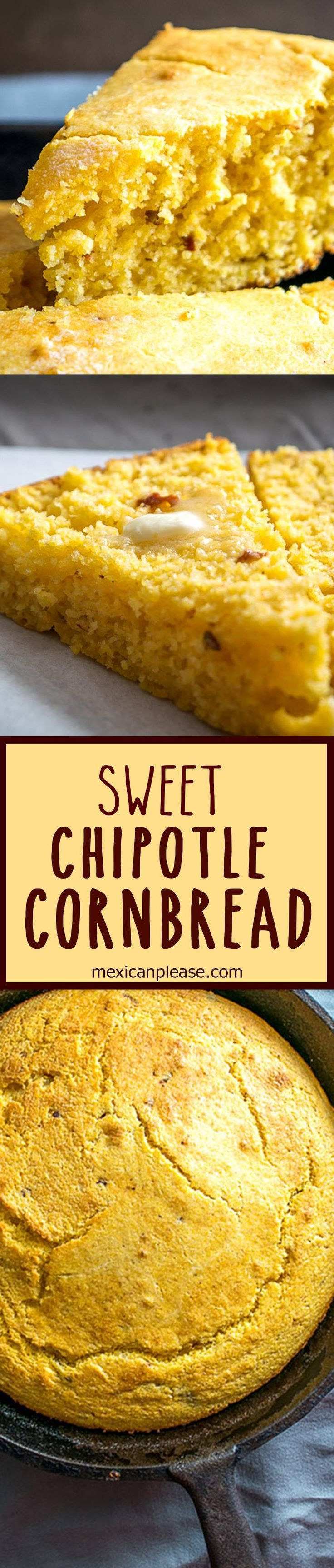 Chipotles give this skillet cornbread the perfect hint of spice.  Permission granted for a generous helping of butter with each slice.  So good! #cornbread http://mexicanplease.com