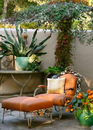 .: Courtyards Gardens, Orange, Lounges Chairs, Grace Design, Outdoor Living, Outdoor Retreat, Patio, Outdoor Spaces, Reading Spots